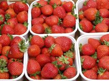 Market day. Fresh strawberries on a street market Stock Photo