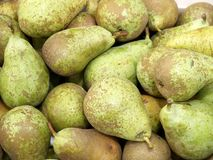 Market day. Fresh pears on a street market royalty free stock image