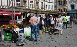 Market day in Honfleur stock photography