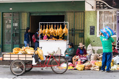 Market day in Huaraz in Peru with Indios and various goods royalty free stock images