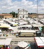 Market Day in Palmanova Italy. Market day on the Piazza in Palmanova Italy Royalty Free Stock Photography