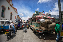 Market day traffic in Colombia Stock Photography