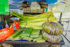 A market with different leafs on a wooden table, in the city of Denpasar in Indonesia.  Royalty Free Stock Photos