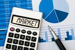 Market displayed on calculator. Word market displayed on calculator Royalty Free Stock Photo