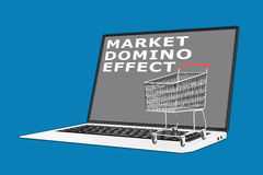 Market Domino Effect concept. 3D illustration of MARKET DOMINO EFFECT script with a supermarket cart placed on the keyboard Stock Image
