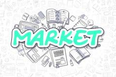 Market - Doodle Green Inscription. Business Concept. Royalty Free Stock Photos
