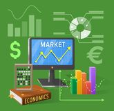 Market and Economics Cartoon Illustration on Green. Market and economics  vector illustration on green. Cartoon style computer screen, various charts, textbook Royalty Free Stock Images