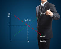 Market economics concept. With cross of supply and demand Royalty Free Stock Photos