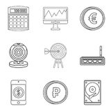 Market evaluation icons set, outline style. Market evaluation icons set. Outline set of 9 market evaluation vector icons for web isolated on white background Stock Photo