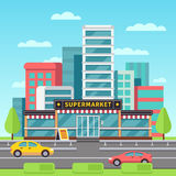 Market exterior, supermarket building, grocery store in modern cityscape with mall parking vector illustration vector illustration