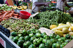 Market at Flacq. FLACQ, MAURITIUS-JUNE 23: Flacq market  is a specialized wholesale market of food and vegetables on June 23, 2013 in Flacq, Mauritius Royalty Free Stock Images