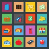 Market flat icons set Stock Images