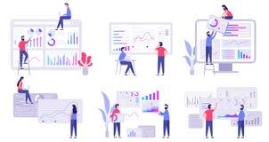 Market forecast. Trends analytics, business marketing strategy and market forecasting flat vector illustration set royalty free illustration