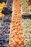 Market Fresh Fruit. Fruit stand, Sunday market, L'Isle sur la Sorgue, France Royalty Free Stock Photo