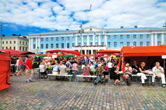Market in front of the City Hall of Helsinki Stock Image
