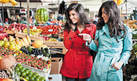 Market fruits shopping friends Stock Photo
