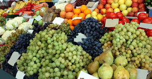 Market for fruits and vegetables Stock Photos