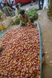 Market2. Goa, India - February 11, 2006:  Onion seller looks for customers. The Market in Chaudi Stock Image