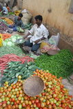 Market4. Goa, India - February 11, 2006:  Vegetable seller looks for customers. The Market in Chaudi Royalty Free Stock Photography