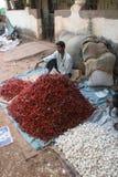 Market6. Goa, India - February 11, 2006:  Vegetable seller looks for customers. The Market in Chaudi Stock Image
