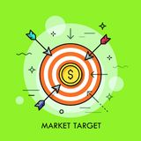 Market goal achievement concept. Arrows flying towards shooting target with dollar coin in center. Market goal achievement concept. Modern vector illustration Royalty Free Stock Photo