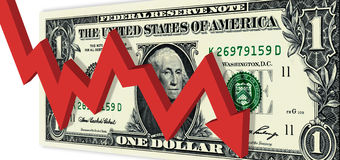 Market Going Down. Down Arrow Dollar Concept Suitable for Negative Financial Market Conditions Stock Photos