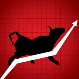 Market graph with bull. Stock Royalty Free Stock Photos