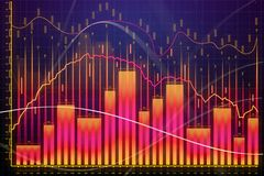 Market growth, finance and banking concept. Creative glowing forex chart background. Market growth, finance and banking concept. 3D Rendering Royalty Free Stock Photo