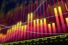 Market growth, finance and fund management concept. Creative glowing forex chart background. Market growth, finance and fund management concept. 3D Rendering Royalty Free Stock Photos