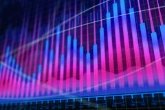 Market growth, finance and future concept. Creative glowing forex chart background. Market growth, finance and future concept. 3D Rendering Stock Photo