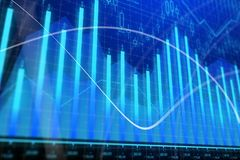 Market growth, finance and interface concept. Creative glowing forex chart background. Market growth, finance and interface concept. 3D Rendering Royalty Free Stock Images