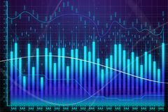Market growth, finance and trade concept. Creative glowing forex chart background. Market growth, finance and trade concept. 3D Rendering Royalty Free Stock Photos