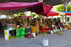 Market in Guadeloupe, Caribbean. Town market in Point de Pitre, Guadeloupe, Caribbean royalty free stock photography