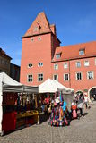 Market in HAIDPLATZ square in Regensburg, Germany royalty free stock photo