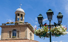 Market Hall Clock Tower in Revel, France Royalty Free Stock Photo