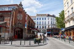 Market halls, on the site of the church of Saint-Gery, Brussels. Brussels, Belgium - July 31, 2015: Market Halls of Saint-Gery. The covered market halls, on the Stock Photo