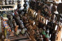 Market of handicrafts, Douala, Cameroun. Ntypical african handicrafts made of wood Royalty Free Stock Image