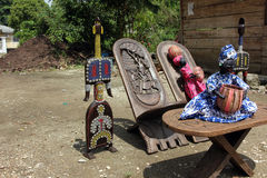 Market of handicrafts, Douala, Cameroun. Ntypical african handicrafts made of wood Royalty Free Stock Photo