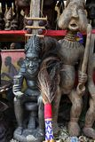 Market of handicrafts, Douala, Cameroun. Ntypical african handicrafts made of wood Stock Image