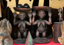 Market of handicrafts, Douala, Cameroun. Ntypical african handicrafts made of wood Royalty Free Stock Photos