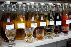 Food market: handmade herb vinegars Stock Photo