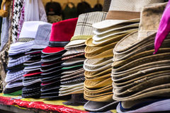 The market hat sales with a large selection.  Royalty Free Stock Image