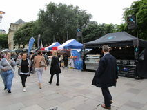 Market on The Hayes. In Cardiff, Wales Royalty Free Stock Photo