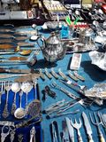 Items on the Sunday Flea market in Berlin Germany royalty free stock image