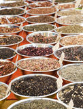 Market with Herbal Tea for sale Stock Photo