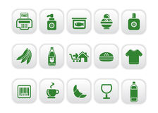 Market icons. Vector illustration of food and market icons Royalty Free Stock Photography