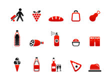 Market icons red four Stock Photos