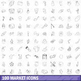 100 market icons set, outline style. 100 market icons set in outline style for any design vector illustration Stock Images
