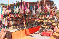The market in India. Textile bags, gifts and souvenirs.  stock photo