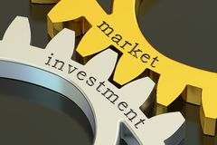 Market investment concept on the gearwheels, 3D rendering. Market investment concept on the gearwheels, 3D Stock Images